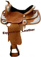 Western Leather saddle Natural Colour with carving and silver plates fittings