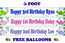 2 PERSONALISED BIRTHDAY PARTY BANNERS NAME PHOTO AGE girl colourful happy fun F1