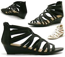 Ladies Strappy Gladiator Zip Peeptoe Summer High Heel Womens Wedge Sandals Size