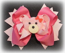 Pink Fuzzy Fur Bear Spring Boutique Hair Bow Girls Baby Teddy Hairbow Funky Bows