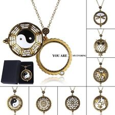 Vintage Gold Chain Magnifying Glass Dragonfly/Owl/Yinyang Pendant Necklace + Box