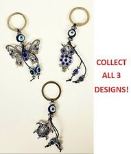 LOT Lucky Owl Butterfly Turtle Key Chain Ring Feng Shui Evil Eye Charm Protect