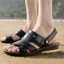 New Mens Sandals Leather Beach Shoes Man Casual Slip On Loafers Summer Outdoor