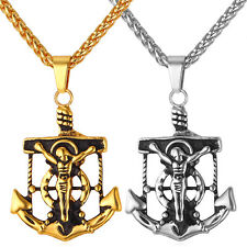 Stainless Steel Anchor Jesus Christ Pendant Necklaces 18K Gold Plated Jewelry