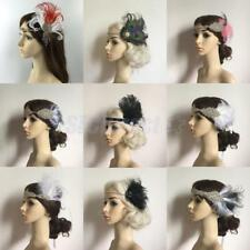 1920's Flapper Headpiece Great Gatsby Crystal Bridal Hair Band Feather Headband