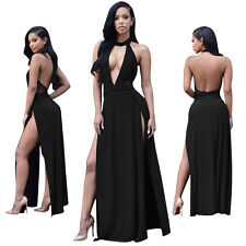 SEXY Women's Backless M~2XL Halter Side Split Long Maxi Dress Pub Clubwear BEACH