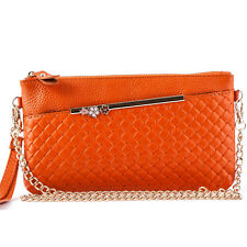 Genuine Real Leather Weave Chain Women Clutch Evening Shoulder Bag Purse Handbag