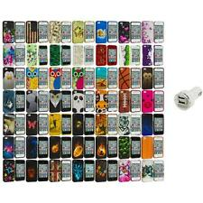 Design Hard Rubberized Color Snap-On Case Cover+Dual Charger for iPhone 4 4S 4G