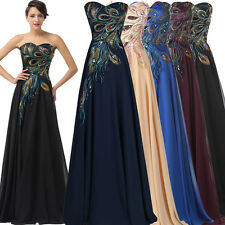 Peacock Vintage Prom Party Formal Evening Long Maxi Dress PLUS SIZE Prom Gown