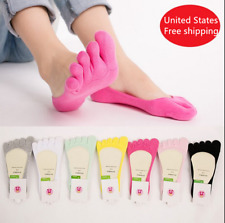 6 Pairs Womens Cotton Toe Five Finger Socks Ankle No Show Invisible Boat Liner