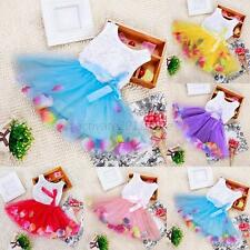 0-4Y Girls Kids Toddler Baby Princess Party Wedding Flower Tulle Tutu Vest Dress