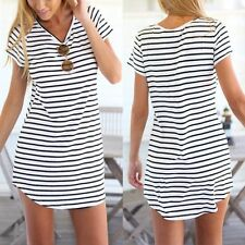 Summer Mini Dress Women's Casual Evening Party Short Sleeve Striped Beach Dress