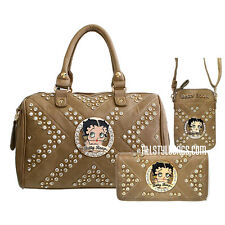 Betty Boop quilted rhinestone taupe wallet cellphone shoulder boxer bag set