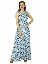 Bimba Women Long Day Maxi Dress Floral White Rayon Sleeveless Gown Summer Clothi