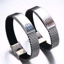 316L Stainless Steel Medical Alert ID Bracelet Hand Chain Bangle for Men
