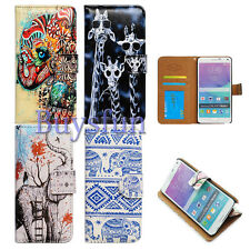 Cacov Tribal Floral Elephant Giraffe Wallet Leather Case for Samsung Galaxy
