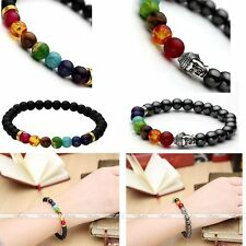 Natural Gems Black Magenetic/agate Bead Healing Chakra Elastic Bangle Bracelet