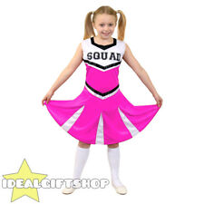 GIRLS HIGH SCHOOL PINK CHEERLEADER CHILD'S FANCY DRESS COSTUME UNIFORM OUTFIT