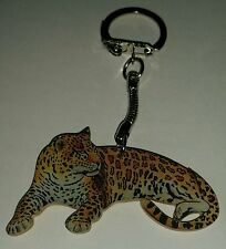 Wooden Leopard key ring keychain Hand made in UK New