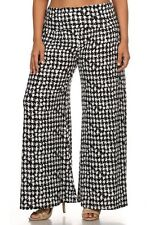 New Women Plus Size Black White Abstract Houndstooth Palazzo Pants Size1X 2X 3X