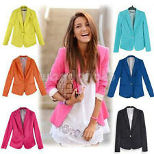Candy Color Womens Fashion One Button Solid Slim Casual Suit Blazer Coat Jacket