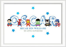 A4 Personalised Superhero Name Picture Print Christening Gift Nursery Baby