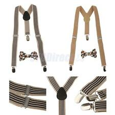 Unisex Kid Suspenders Plaid Necktie Set Clip-on Braces Elastic Y-back Suspender