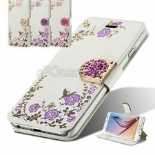 Crystal Rose Flower stand wallet card pocket case cover for Samsung Galaxy Model