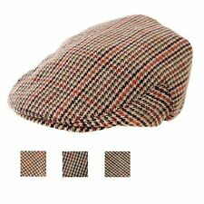 Mens Tweed Flat Cap Country Hat Shoot Gent Mans Quality Wool Peak 57 58 59 60 61