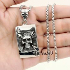 Mens Silver ACE Skull Iron Cross 316L Stainless Steel Charm Pendant Necklace set