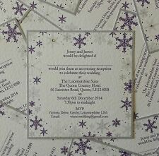 Square flat * SNOWFLAKE * WEDDING INVITATION INVITE INVITES STATIONERY sample