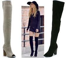 NEW WOMENS LADIES BLACK OVER THE KNEE THIGH BOOTS HIGH HEEL PEEPTOE SHOES SIZE