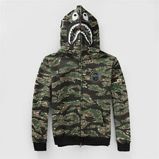 A Bathing Ape BAPE Shark Head Camo Full Zip Fleece Hoodie Men's Sweats Green