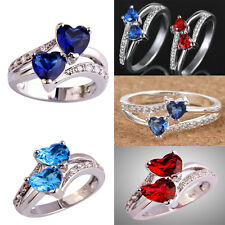 Fashion Women 925 Silver Heart Crystal Love Ring Wedding Ring Size 6-9 Jewelry