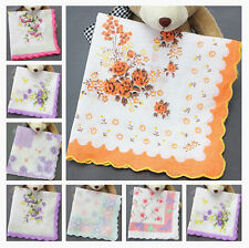 10Pcs Women Daily Vintage Cotton Yarn Hanky Towel Floral Handkerchief LOT