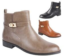 Womens Ladies Formal Smart Chelsea Gold Clasp Ankle Short Elastic Zip Boots Size