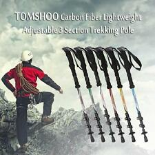 Telescopic Trekking Pole Carbon Fiber Hiking Walking Stick 3 Section HM C1J4