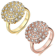 Women Fashion Wedding Rings Round Cubic Zirconia Rose Gold Plated Copper Jewelry