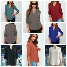 7 Colors Women Cotton Blend V-Neck Long Sleeve Loose Tops Tee Shirts S-5XL New