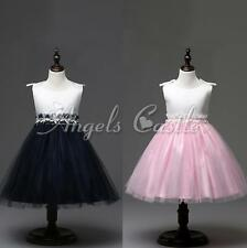 Girls Sleeveless Flower Bowknot Princess Wedding Layers Tulle Dress Formal Gown