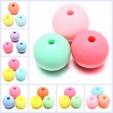 Wholesale Mixed Colorful Round Dull Polish Acrylic Loose Spacer Beads Findings D