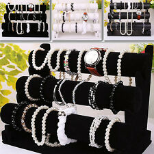 3 Tier T-Bar Bracelet Display Holder Stand Chain Watch Bangle Jewelry Show Gift