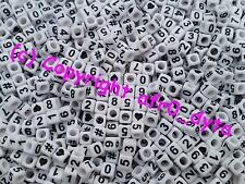 100 to 1000 White Mixed Numbers Cube Beads 6mm
