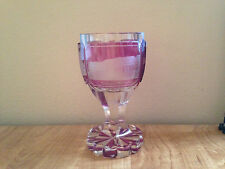 Antique Ruby Red Heavy Glass Chalice German Bohemia Etched Buildings