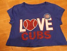 Super cute!! Womens Chicago CUBS, Cropped Shirt/Top, Small/Medium