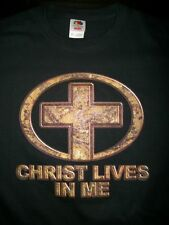Religious Mens T Shirt Christ Lives In Me Jesus God Christian Savior Bible Lord