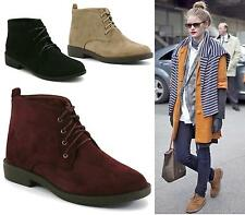 Womens Ladies Black Faux Suede Lace-Up Comfy Casual Ankle Desert Boots Shoes Siz