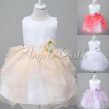 Flower Girls Infant Baptism Party Tutu Dress Wedding Birthday Pageant Tulle Gown