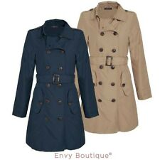 Ladies Womens Jacket Trench Mac Double Breasted Buckle Belted Coat