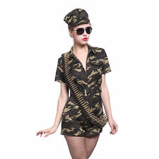 Sexy US Army Defence Force Military Camouflage Uniform Jumpsuit Halloween Outfit